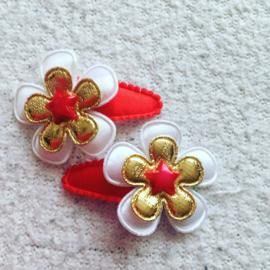 Haarspeldjes 3cm(Rood/wit/goud met ster)