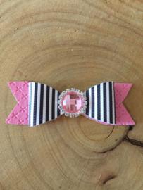 Haarstrik roze met zwart/streep