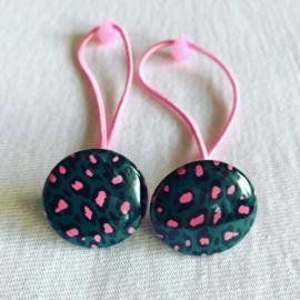 Haar elastiekjes Leopard groen/rose