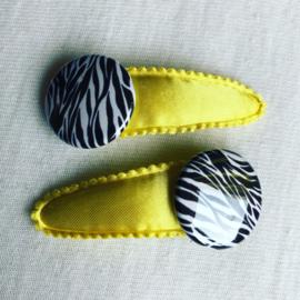Haarspeldjes geel/zebra