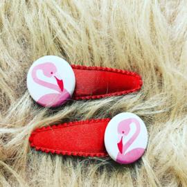 Haarspeldjes met flamingo (Rood)