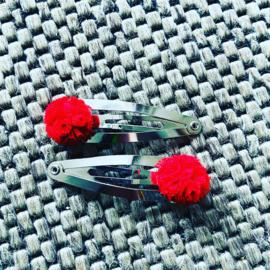 Haarspeldjes met pom pom (Rood)