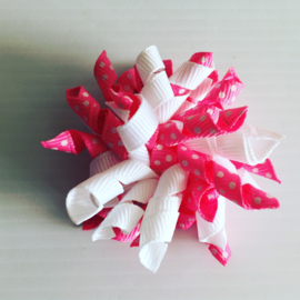Mini Krullie wit/roze met stip