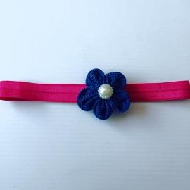Haarbandje met linnen bloem met parel (navy)