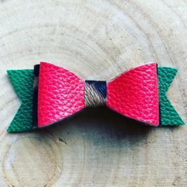 Haarstrik Leopard/groen/rood