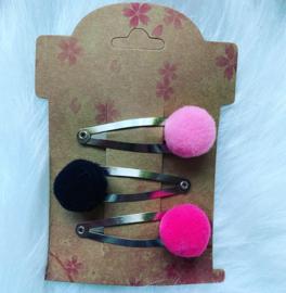 Haarspeldjes met pom poms roze/zwart/fuchsia
