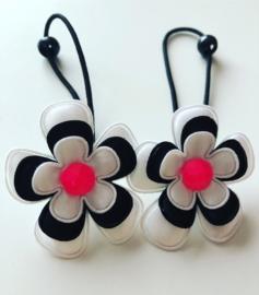 Haarelastiekjes zwart/wit/neon roze