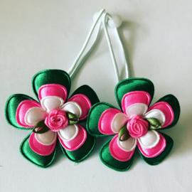 Haarelastiekjes groen/roze/wit