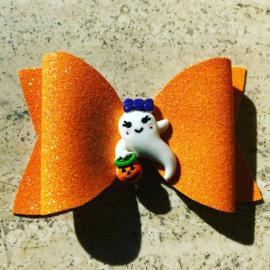 Oranje glitter haarstrikje spookje