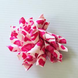 Krullie met clip rose dierenprint