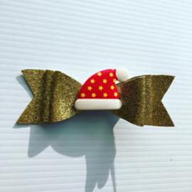Gouden glitter haarstrik met kerstmuts