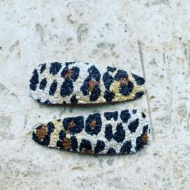 Haarspeldjes met glitter Leopardprint leer