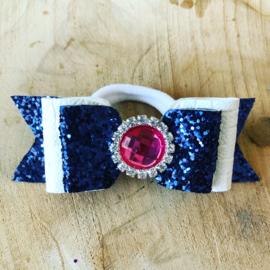 Haarelastiekje met strik Glitter Navy/wit met roze steen