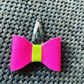 Strikje met klik klak speldje neon roze/neon geel