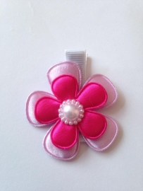 Haarlokspeldje lila/fel rose met parel..