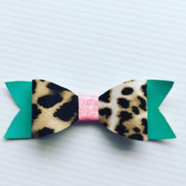 Haarstrik panterprint roze/groen