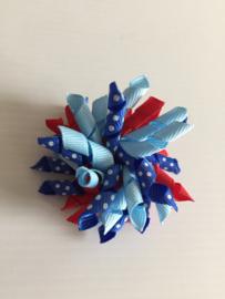 Mini Krullie rood/licht blauw/donker blauw stip