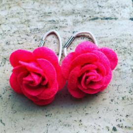 Haarelastiekjes vilten roos (Neon roze)