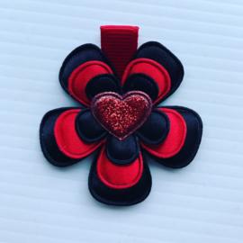 Haarlokspeldje zwart/rood met hartje