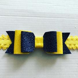 Haarbandjes met strik geel/Navy