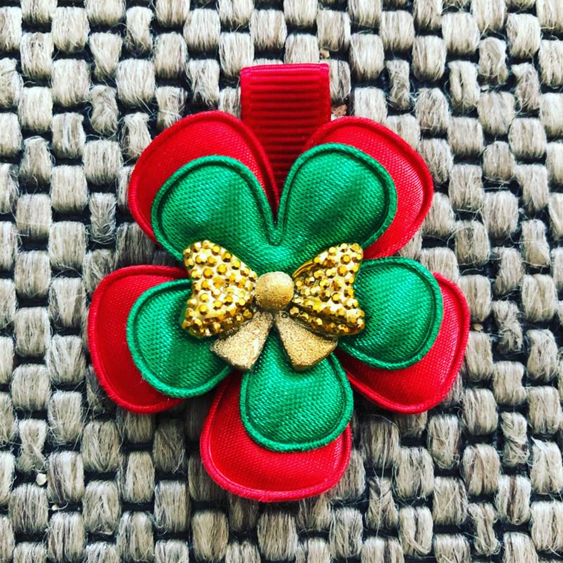 Haarlokspeldje rood-groen met strikje