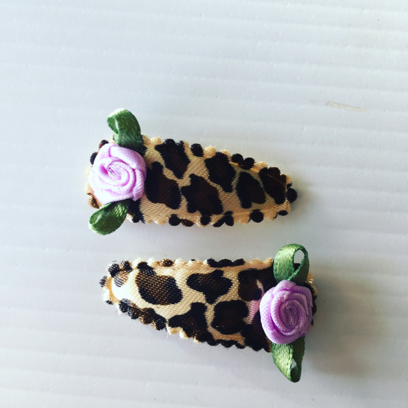 Baby Haarspeldjes panterprint met roosje