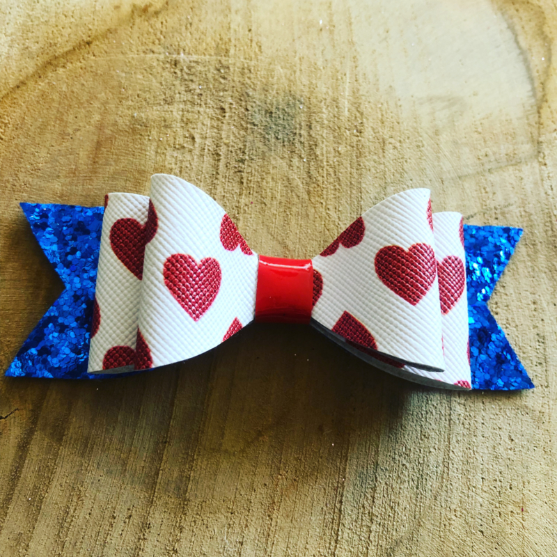 Haarstrikje hartjes print/Koningsdag blauw