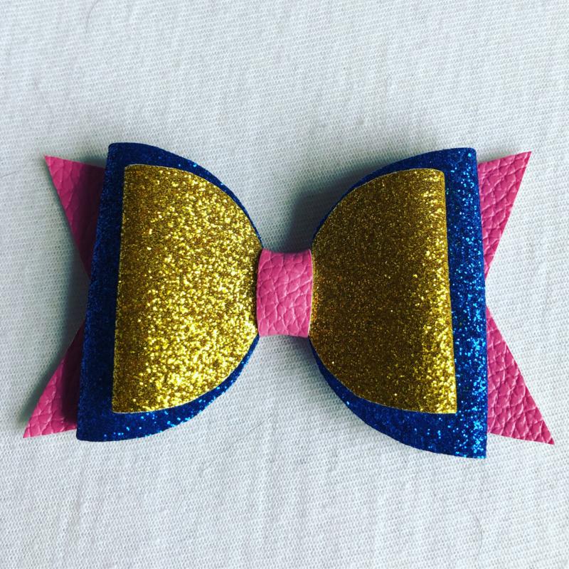 Haarstrik Roze/Blauw/goud