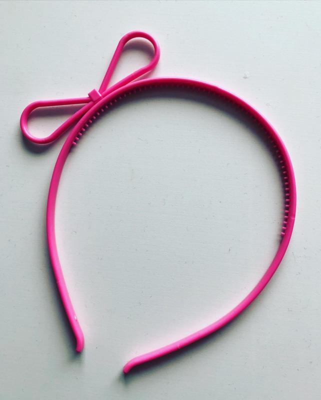 Diadeem met strikje licht roze
