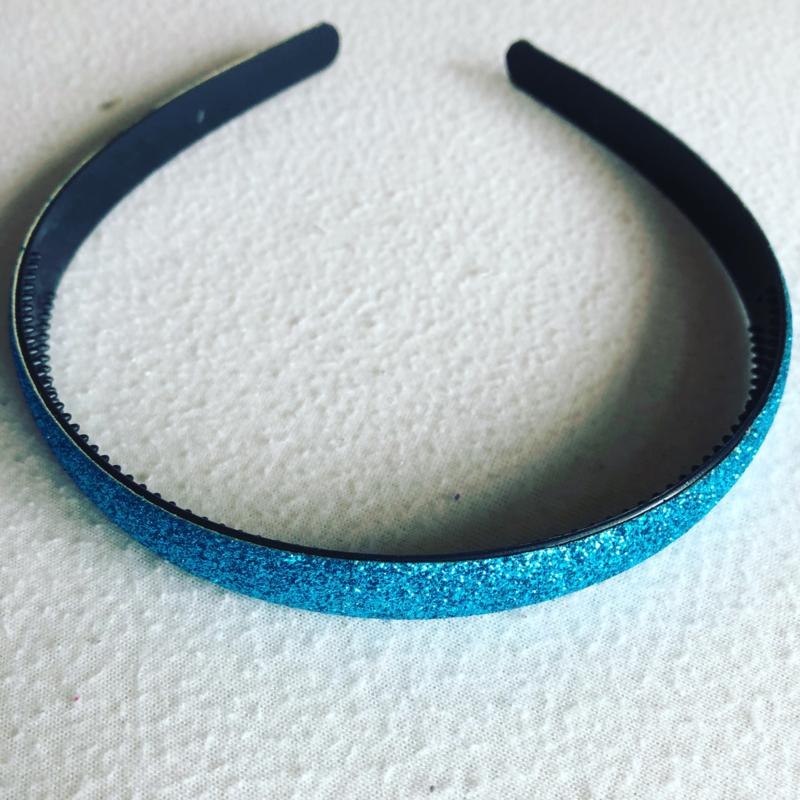 Diadeem glitter fel blauw