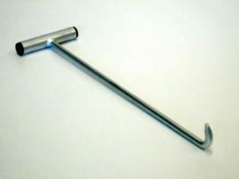 Puthaak 300x10, recht handvat en rechte steel, verzinkt.