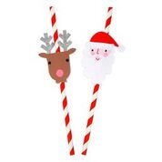 Santa and Reindeer paper straws