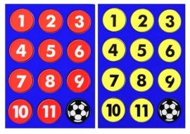 Platte magneten genummerd met voetbal