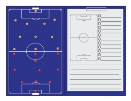 Sportec Coachmap voetbal magnetisch met clip en schrijfblok