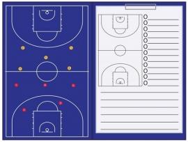 Sportec Coachmap basketbal magnetisch met clip en schrijfblok