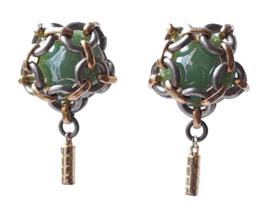 Oorbellen  - Greeny bangle button