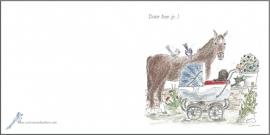 Geboortekaartje `Daar ben je...` (met paard)
