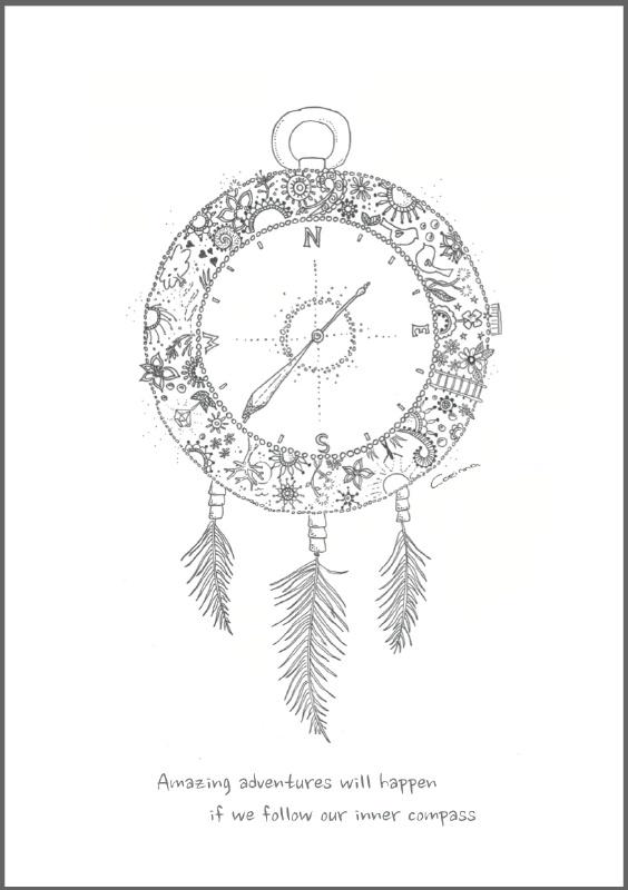 Feather Wenskaart: Inner Compass