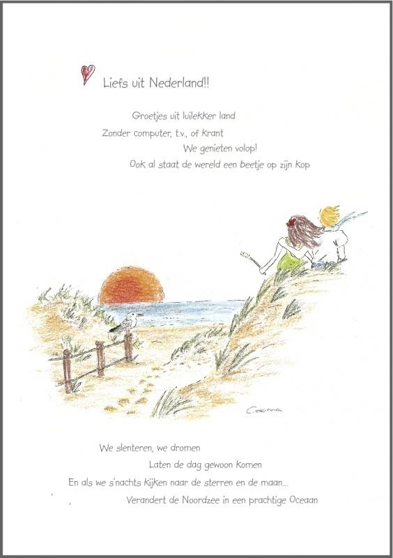 Wenskaart ` Liefs uit Nederland `
