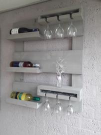Wijnrek klein - Grey wash Steigerhout