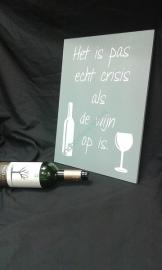 Tekstbord Wijn crisis
