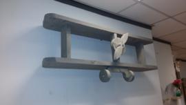 Steigerhouten wandvliegtuig (wit gebeitst)
