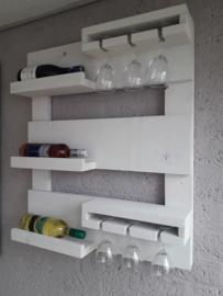 Wijnrek klein - White wash Steigerhout
