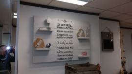 Wandbord steigerhout tekst In dit huis... White wash
