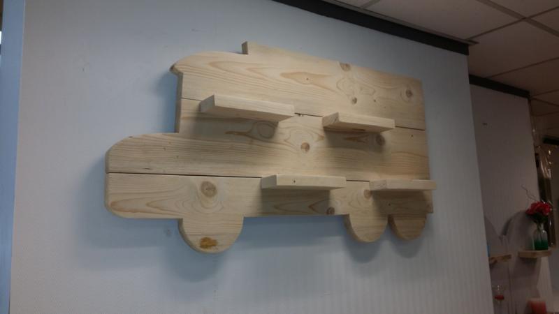 Wandbord Vrachtwagen nieuw steigerhout
