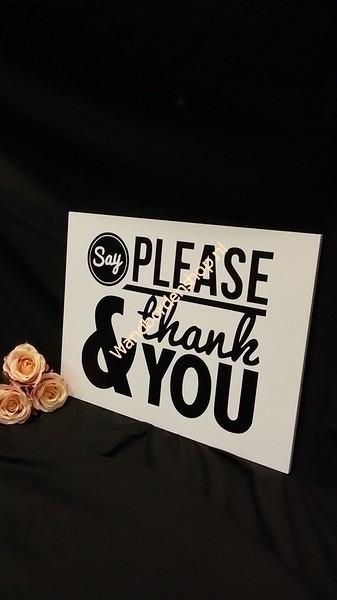 Tekstbord Please & thank you