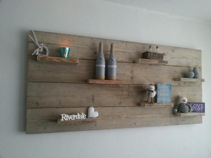 Wandbord gebruikt steigerhout 80cm hoog Horizontaal