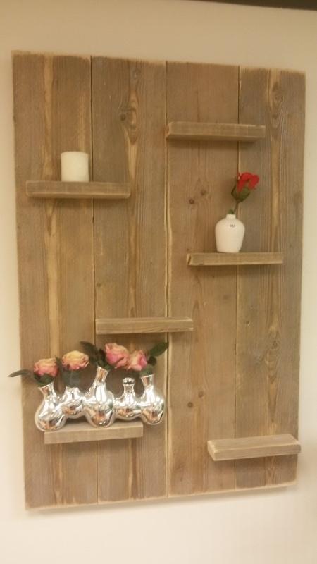 Wandbord 80 cm Verticaal gebruikt steigerhout