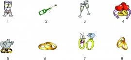 Voorbeeldjes met champagne en ringen