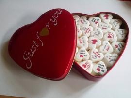 Groot blik rood met verschillende opdruk op gekleurde hartjes van 22mm. incl. Verzendkosten!